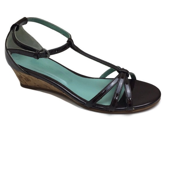 Boden Patent Leather T-Strap Strappy Wedges Sz 6